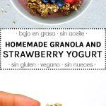 granola sin aceite y yogur casero de fresas