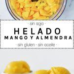 Helado casero de mango y almendra