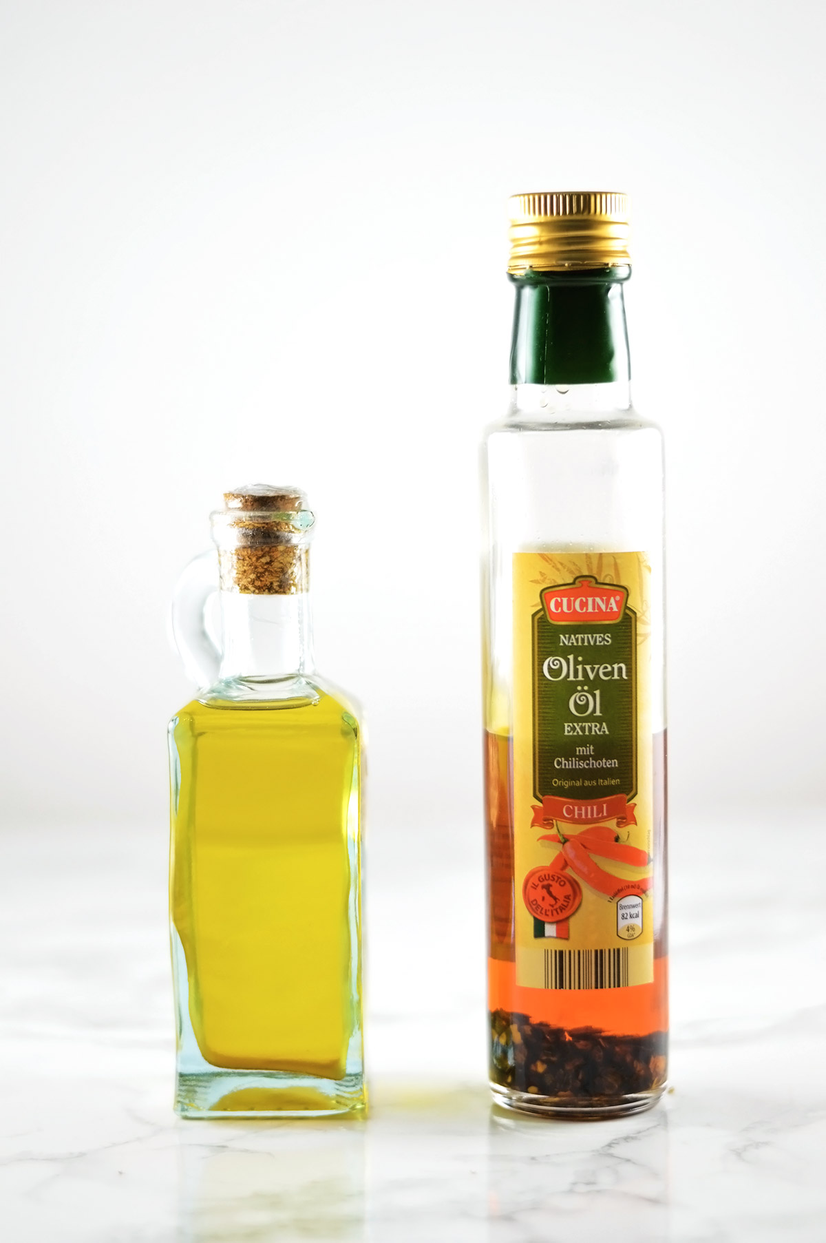 two bottles of olive oil