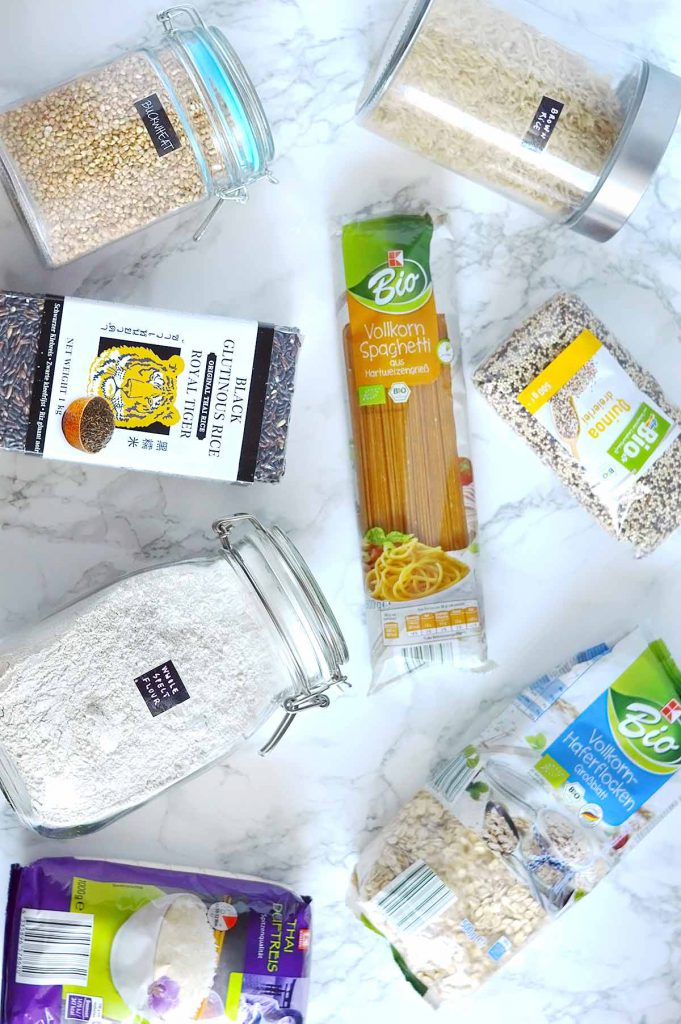 pantry products on a marble table