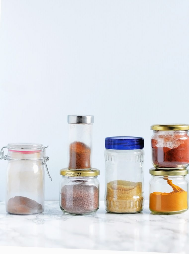 pantry glass jars with spices