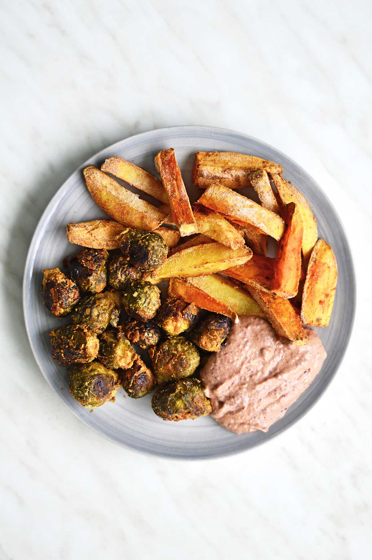 Oil-Free Fries with Brussels Sprouts and Hummus