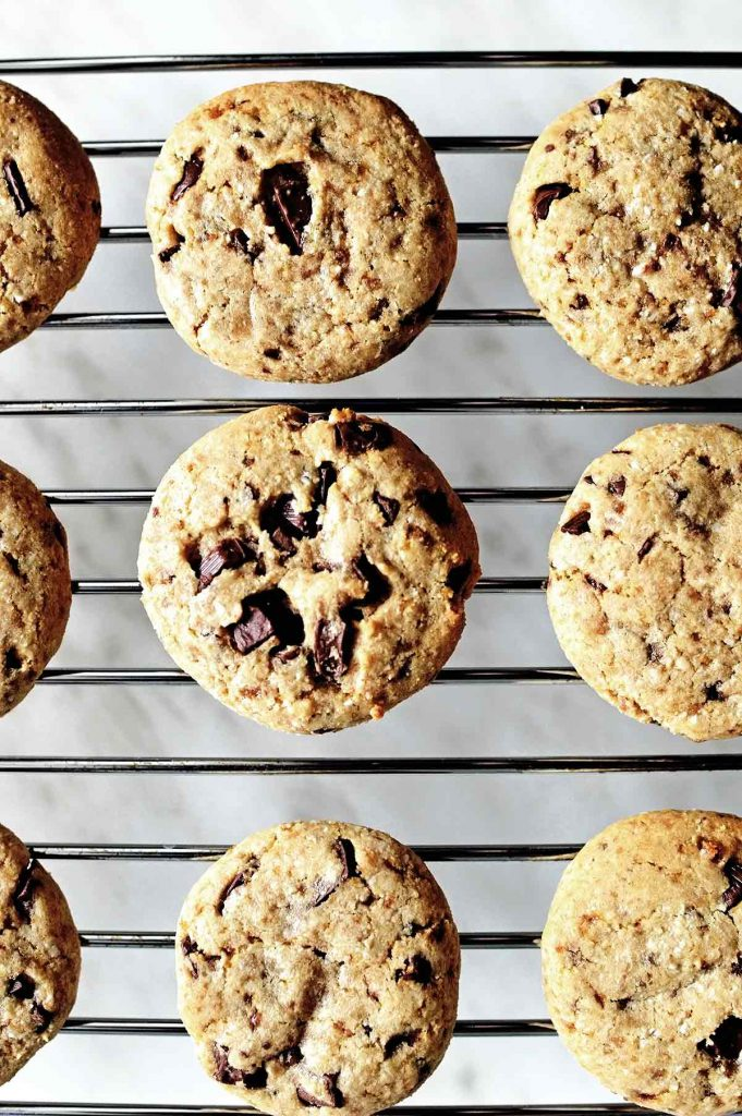 best soft vegan chocolate chip cookies on a baking tray