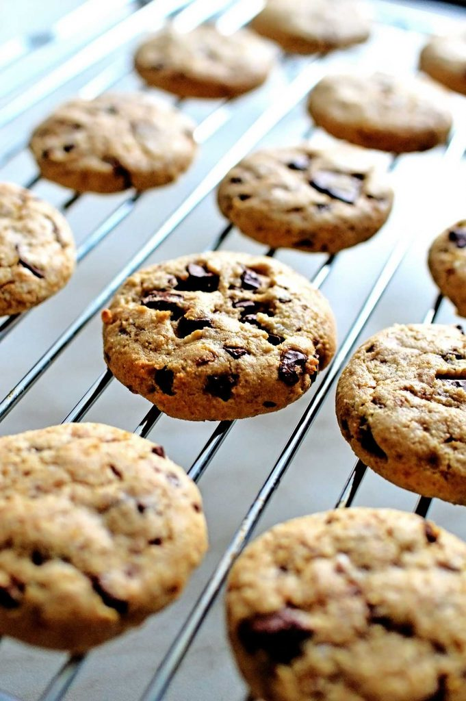 best vegan soft chocolate chip cookies on a baking tray