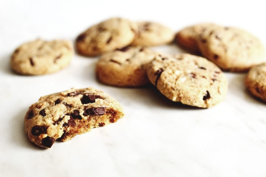 best soft vegan chocolate chips cookies on a table