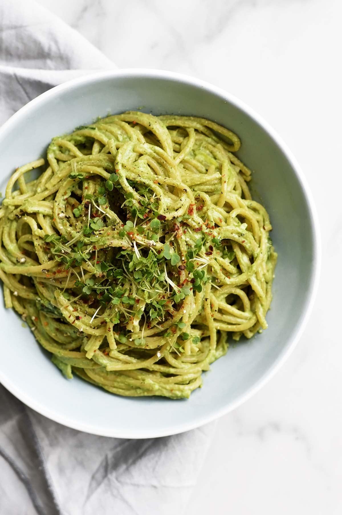 hemp seeds pesto pasta dish