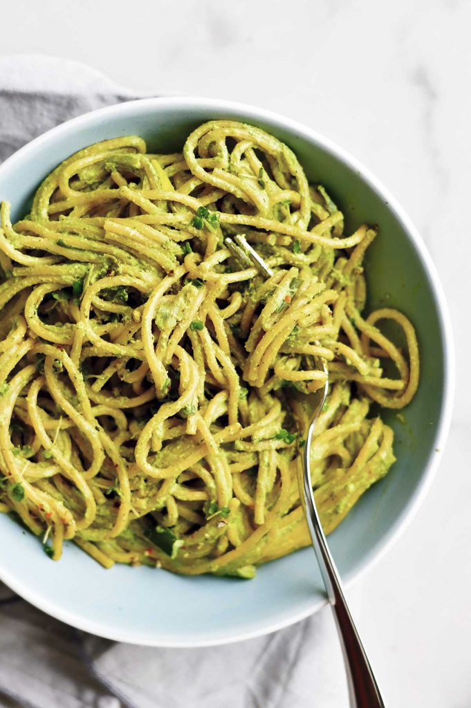 hemp seeds pesto pasta dish