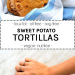 sweet potato tortilals wrapped in a blue kitchen towel