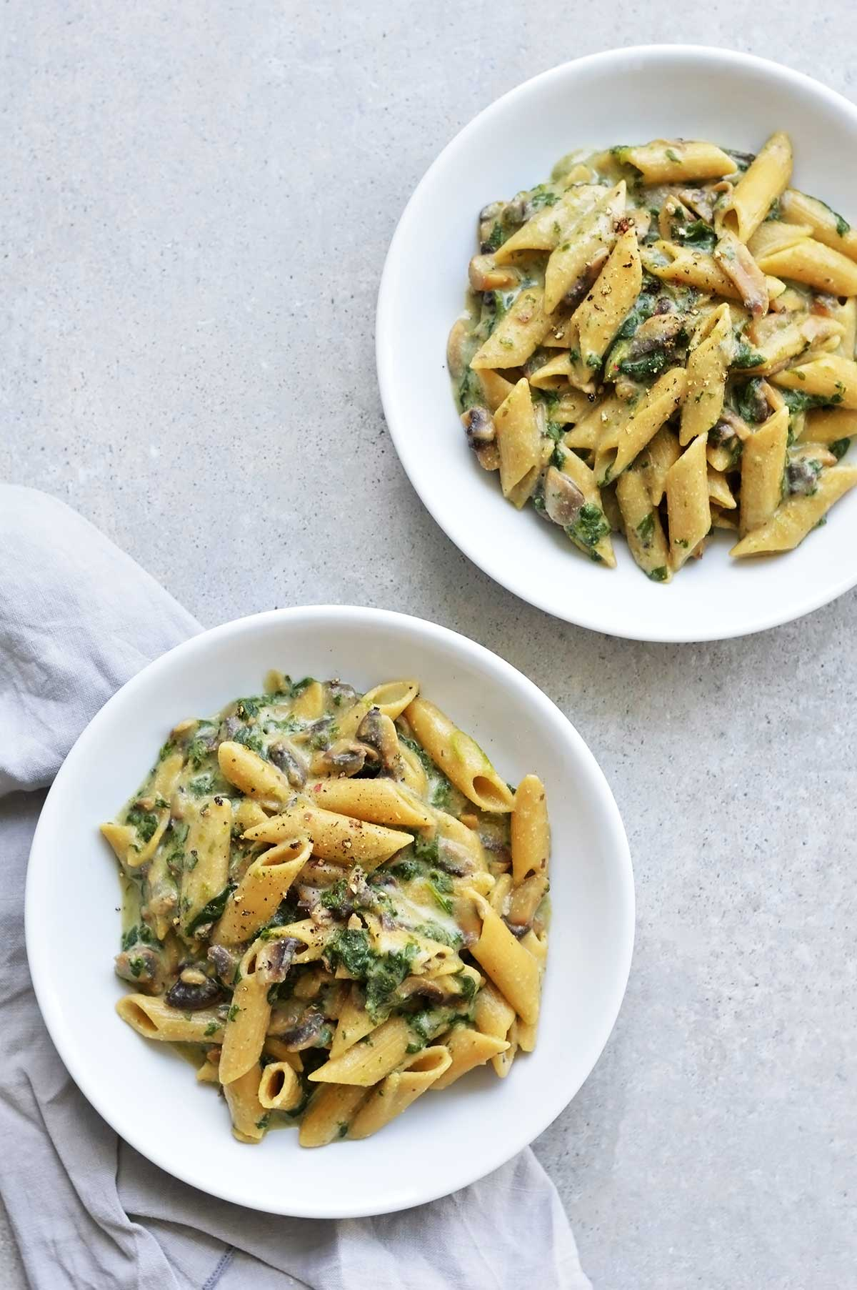 two plates of creamy pasta