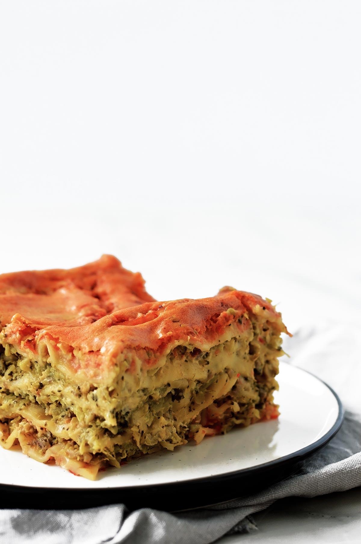 vegan lasagna served on a white plate