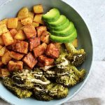 oil-free fried tofu with veggies and potatoes