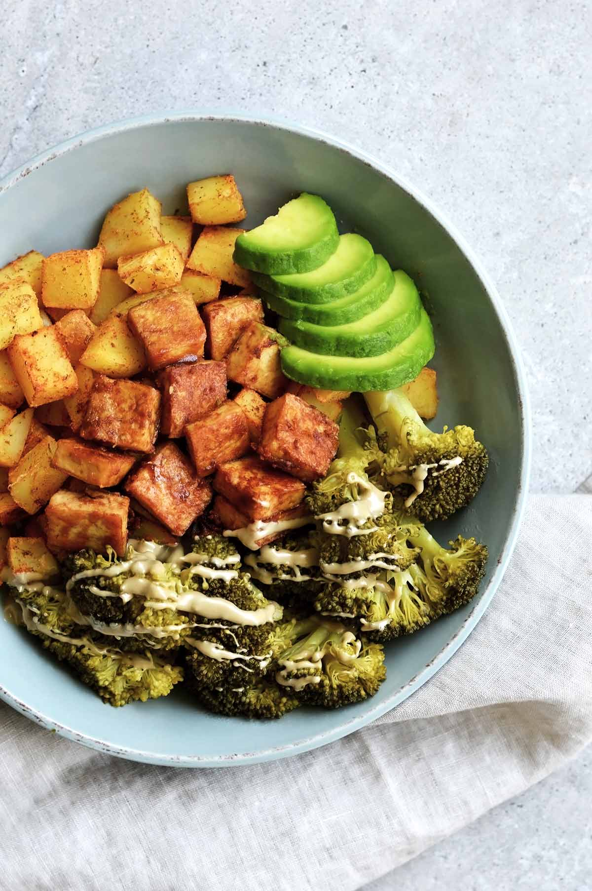 oil-free fried tofu with veggies and potatoes