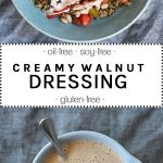 creamy walnut dressing in a blue bowl