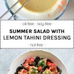 summer salad with lemon tahini dressing in a white bowl