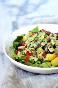salad with oil-free basil dressing