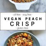 Vegan peach crisp with chocolate ice cream