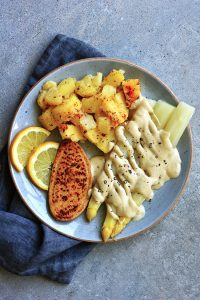 oil free vegan hollandaise sauce with potatoes, asparragus and a quorn fillet