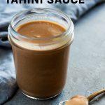 magic tahini sauce in a glass jar