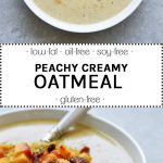 peachy creamy oatmeal in a white bowl