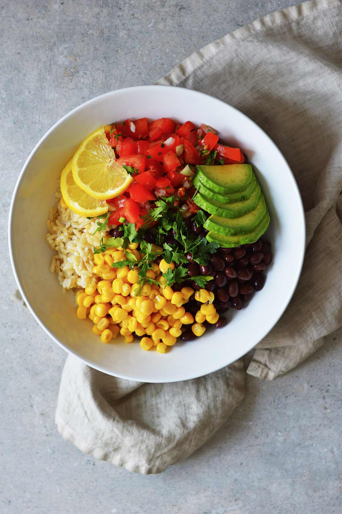 vegan burrito bowl in a white dish